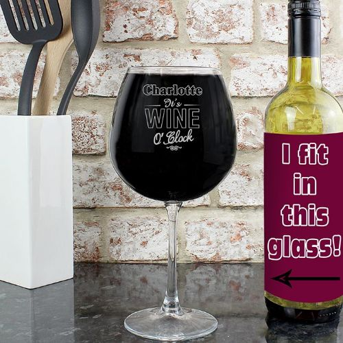 Personalised Wine O Clock Bottle of Wine Glass